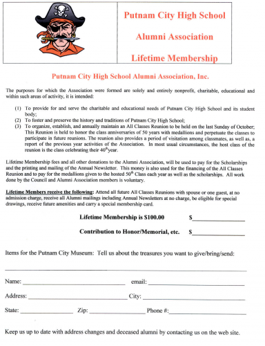 Lifetime Membership to Alumni Association Card