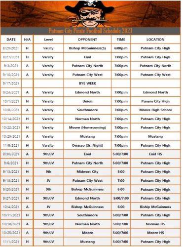 2021 Putnam City Pirates FOOTBALL Schedule